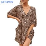 Sexy Leopard Print Short Sleeve Fashion V-Neck Mini Dress