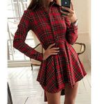 Loose Button Check Plaid Button Long Sleeve Mini Dress