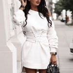 O-neck Long Sleeve Fleece Thick Bandage Mini Dresses