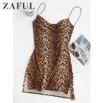 Leopard Print Slits Flared High Waist Sexy Party Mini Dress