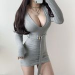 Deep V low stripe sexy slim fashion Mini dress