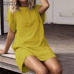 Short Sleeve Vintage Long Tunic Casual Robe Mini Dress