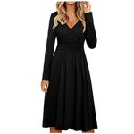 Long Sleeve V-Neck Casual Fashion Midi Dress