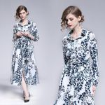 printed long sleeves Casual beach midi dress