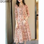 Pleated Elegant Silk Vintage Floral Midi Dress
