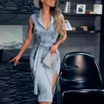 Fashion Sexy Sleeveless V Neck Elegant Midi Dress