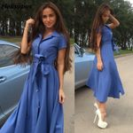 Side Slit Elegant Button Tunic Belted Long Maxi Dress