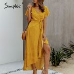 Sexy dot ruffled high waist v neck Casual cotton maxi dress
