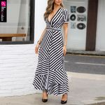 Striped Slit Ruffles Button Sleeve Plunge V-neck Casual Maxi Dress
