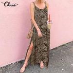 Split Leopard Print Straps Sleeveless Sexy Maxi Dress