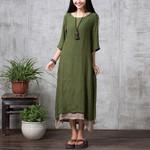 Fashion Cotton Linen Vintage Casual Long Maxi Dresses