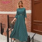 Floral Printed Long Elegant 3/4 Sleeve Casual Maxi Dress