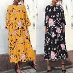 Floral  Long Sleeves O Neck Cotton Vintage Maxi Dresses