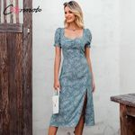 Vintage Print Square Collar Casual Puff Sleeve Party Maxi Dress