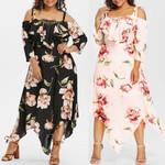 Fashion Dress Off Shoulder Lace Up Floral Print Maxi Dress