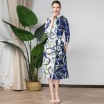 half sleeves runways fashion print Shirt dress