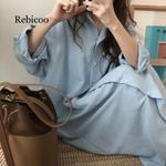 Casual Patchwork cotton Collar Buttons Long Sleeve Long Shirt Dress