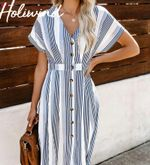Causal Sleeves Long Dress V-neck  Striped Vintage Shirt Dress