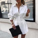 Elegant Turn Down Collar  Long Sleeve Tight Waist Shirt Dress