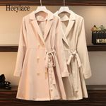 Fashion Collar Long Sleeve Double-breasted Elegant Shirt Dress