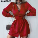High Waist Button Down Elegant Long Sleeve Short Shirt Dress