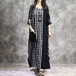 Check Vintage Plaid Patchwork Casual Long Shirt Dress