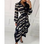 Print Casual Loose Fashion Wave Long Sleeve Shirt Dress