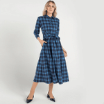 Retro Plaid Print Belt Long Sleeve Square Collar Elegant Office Dress