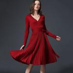 Sashes V-Neck Elegant Long Sleeve Office Dresses