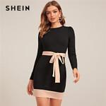 Elegant Belt Long Sleeve Zipper High Waist Office Dresses