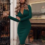 Deep V-neck Wrap Ruched Long Sleeve Office Dresses