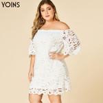 Half Sleeves Elegant Hollow Lace Off Shoulder Dresses