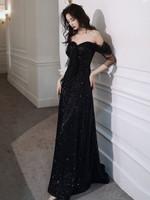 Sequin Long  Fashion Elegant Backless  Off Shoulder Dress