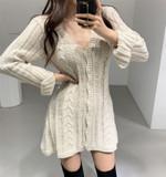 Sexy Deep V Neck Knit Fashion Twist Vintage Retro Sweater Dress
