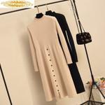 Elegant Long Sleeve Knitted Sweater Dress