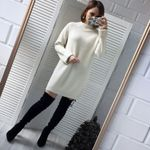 Fashion Loose O-neck Pullover  Knitted Cotton Sweater Dresses