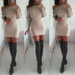 Fashion Casual Loose Off Shoulder Pullover Sweater Dress