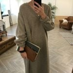 V Neck Casual  Elegant Knitted Sweater Dress