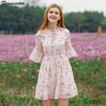 Chiffon Sweet Ruffles Floral Short Sleeve Printed  Dress