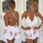 Strap Backless  Patchwork Lace V Neck Print Dress