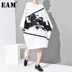 Pleated Loose Round Neck Long Sleeve Pattern Printed Dress