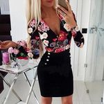 Button Sexy V Neck Long Sleeve Rose Printed Dress