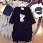 Funny Cat Casual Loose Fashion Cartoon Print Dress