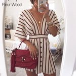 Short Sleeve Button Vintage Deep V Neck Striped Print Dress