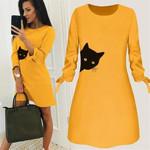 Bow O Neck Long Sleeve Fashion Cat Printed Dress