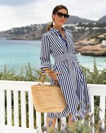 Striped print 3/4 Sleeve turn down collar sashes wrap dress