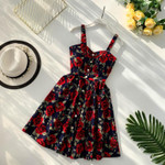 Vintage Spaghetti Strap Short  Floral Print Dress