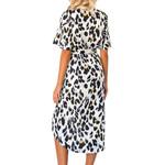 Leopard V Neck Lace Up Wrap Dress