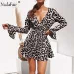 Flare Long Sleeve Chiffon Vintage Casual Leopard Wrap Dress