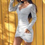 High Waist V Neck Puff Sleeve Wrap Dress